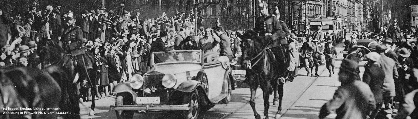 Der Schauspieler Willy Fritsch: begeisterte Film-Fans in den Straßen von Breslau