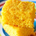 Stack of two pieces of gluten free cornbread