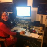 Owner Michelle in the Recording Studio - Try one of our recording package deals