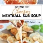 meatball soup in a white mug