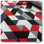 czerwone romby na tkaninie