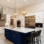 navy island in white kitchen