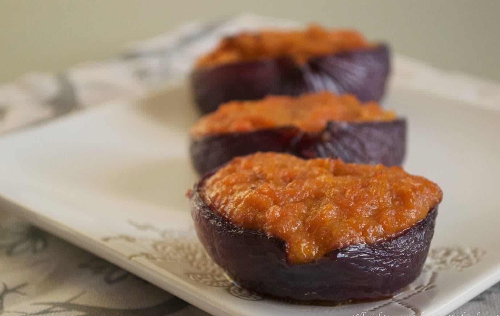 Cipolle rosse ripiene di zucca Bimby