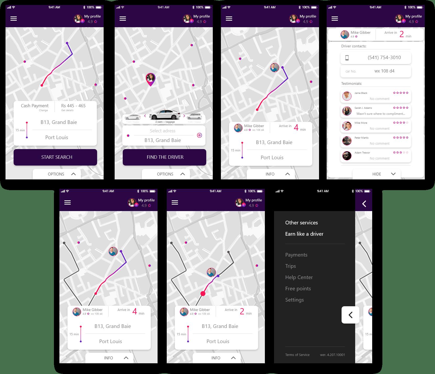 UI artlime projektowanie aplikacji mobilnej typu uber taxi