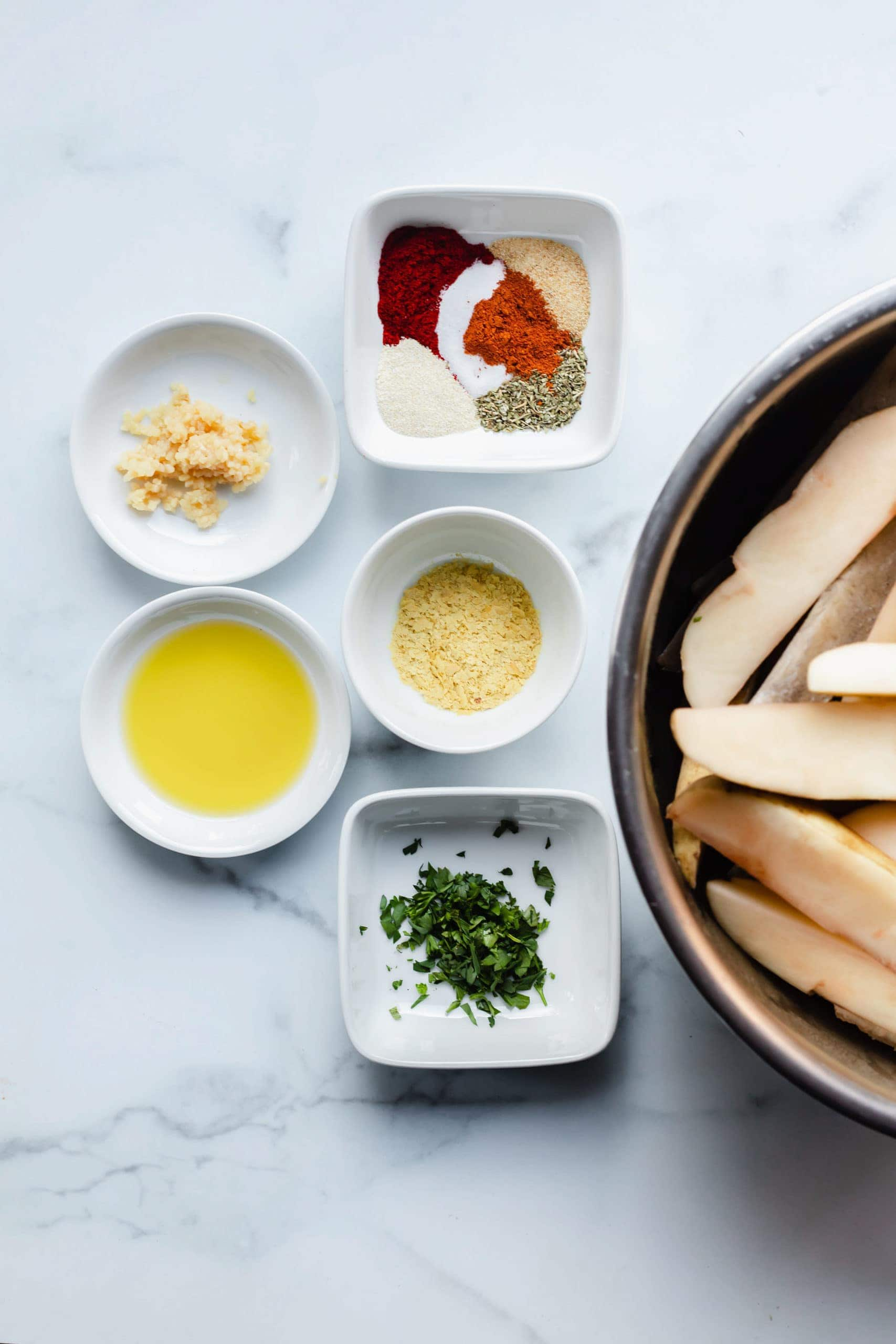 ingredients for oven baked potato fries