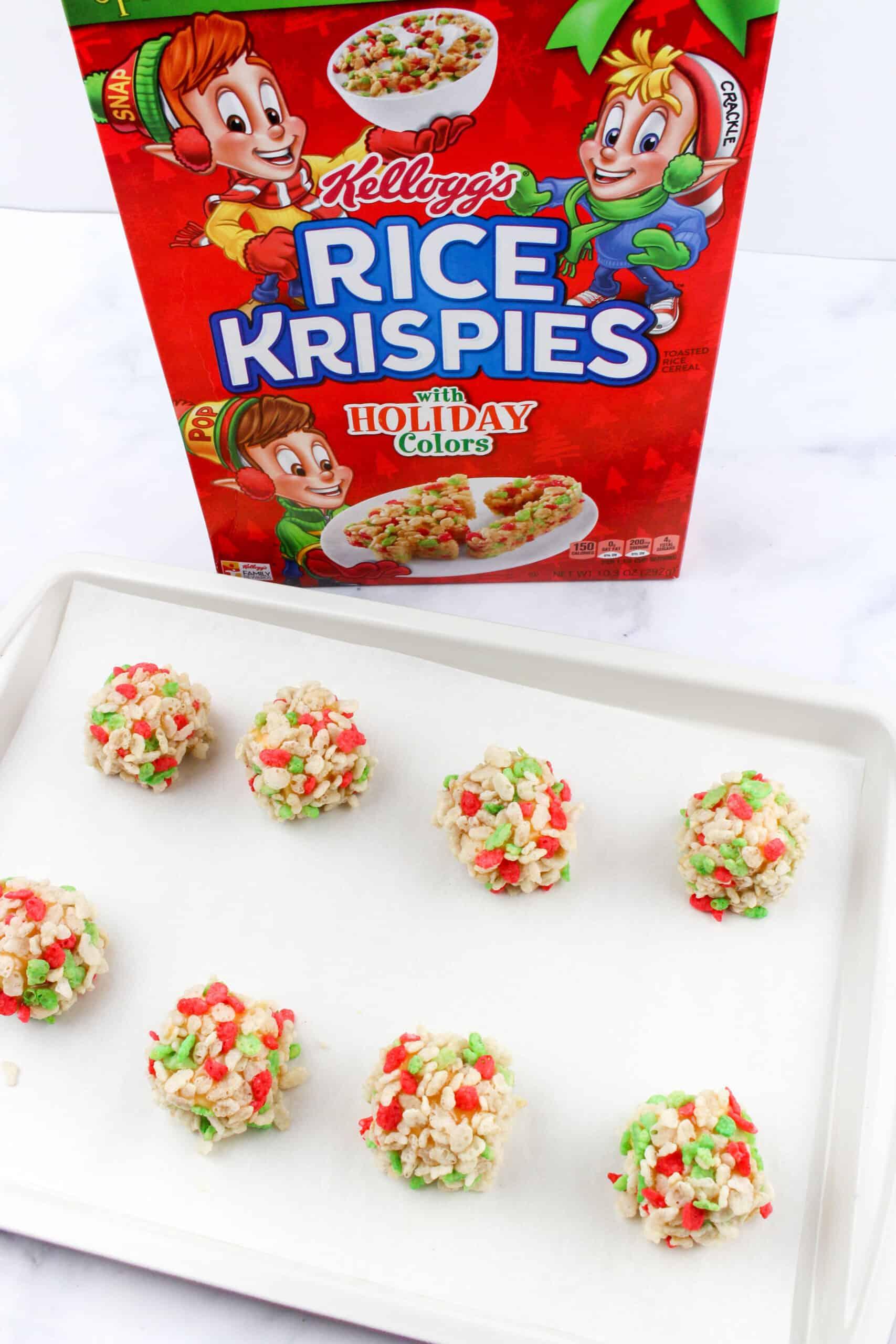 Christmas Caramel Marshmallow Rice Krispies Balls