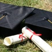 graduation caps and diplomas