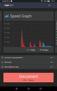 VyprVPN connected on Kindle Fire