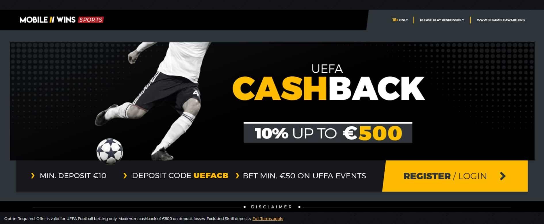 UEFA Cashback at Mobile Wins