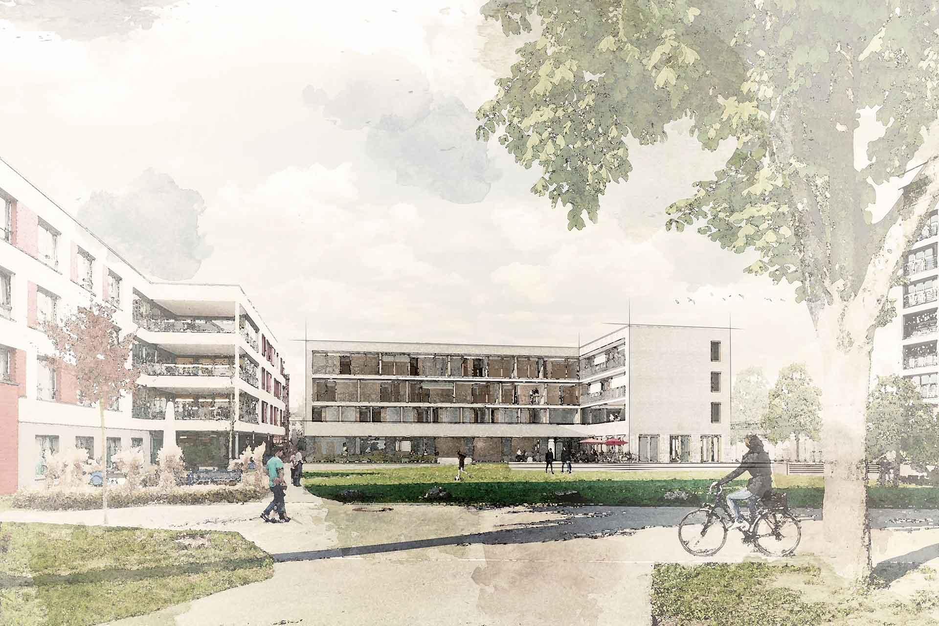 """Entwurf von Aldinger Architekten für ein Pflegewohnheim im Rahmen von """"Der Hospital"""" in Biberach"""