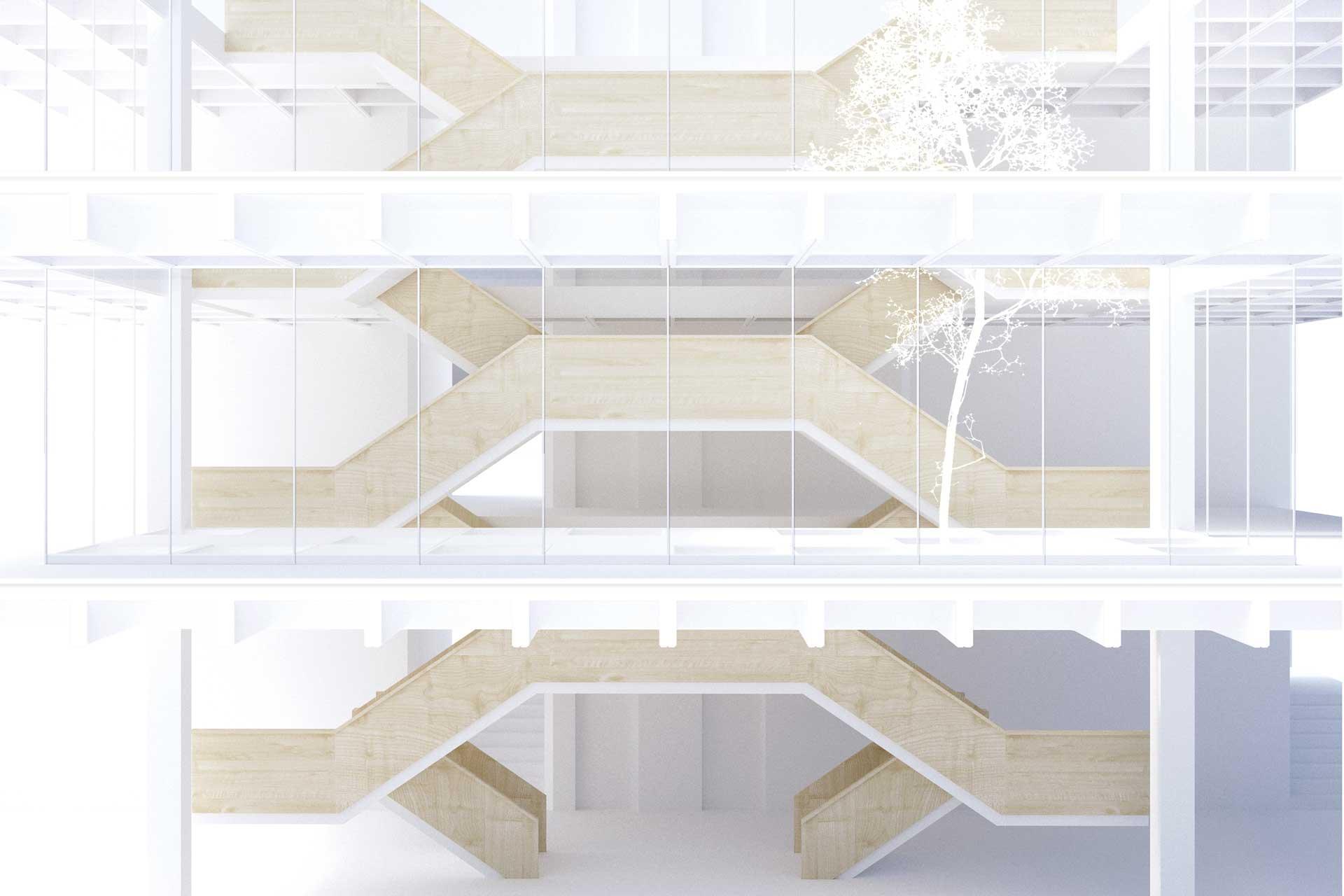Ansicht Treppensequenz, Entwurf Rathaus Laupheim