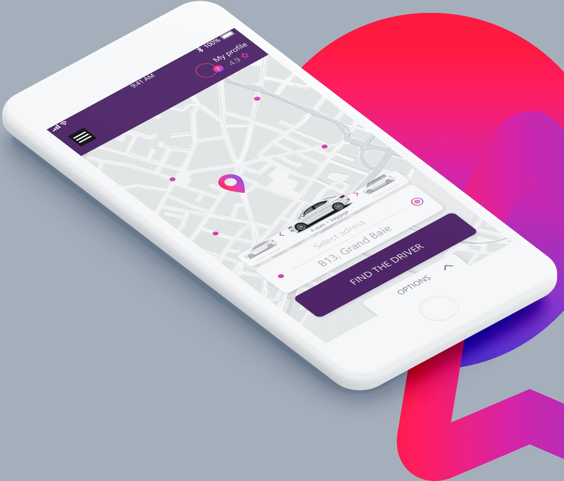 UI artlime projektowanie aplikacji mobilnej taksówka uber