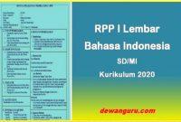 rpp 1 lembar bahasa indonesia sd-mi kurikulum 2020