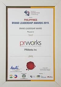 PRWorks brand leadership award - doing PR in the Philippines