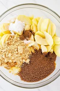 Peanut Butter Apple Pie Filling Ingredients in glass bowl