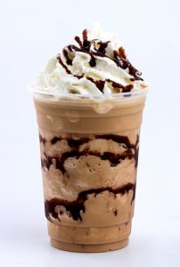 Mochal frappe in plastic cup with chocolate sauce and whip cream
