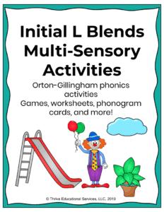 initial l blends activities multi-sensory
