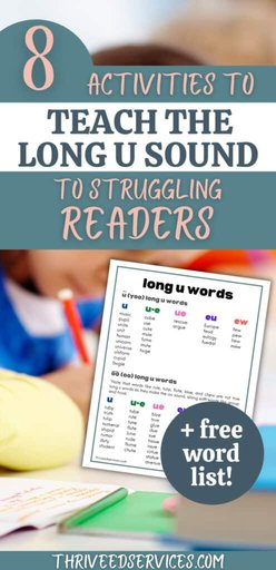 8 activities to teach the long u sound to struggling readers pin image