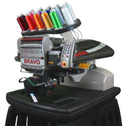 Melco Bravo 16 needle embroidery machine