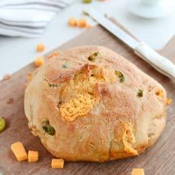Instant Pot Whole Wheat Jalapeño Cheddar No Knead Crusty Bread