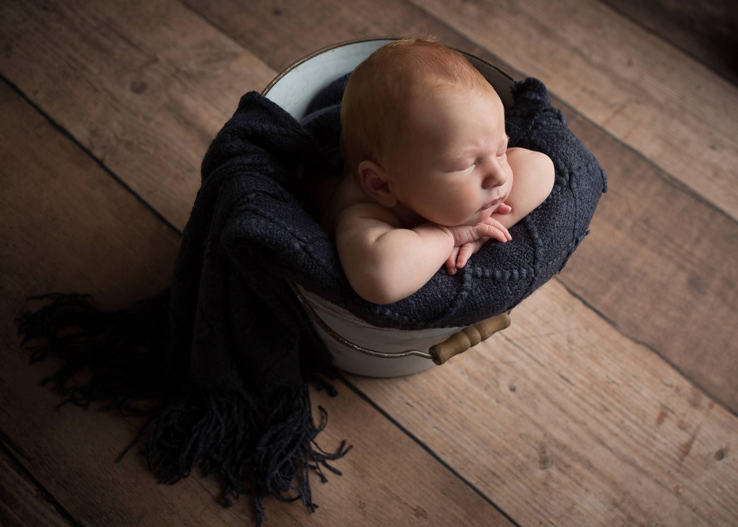newborn boy navy wrap bucket