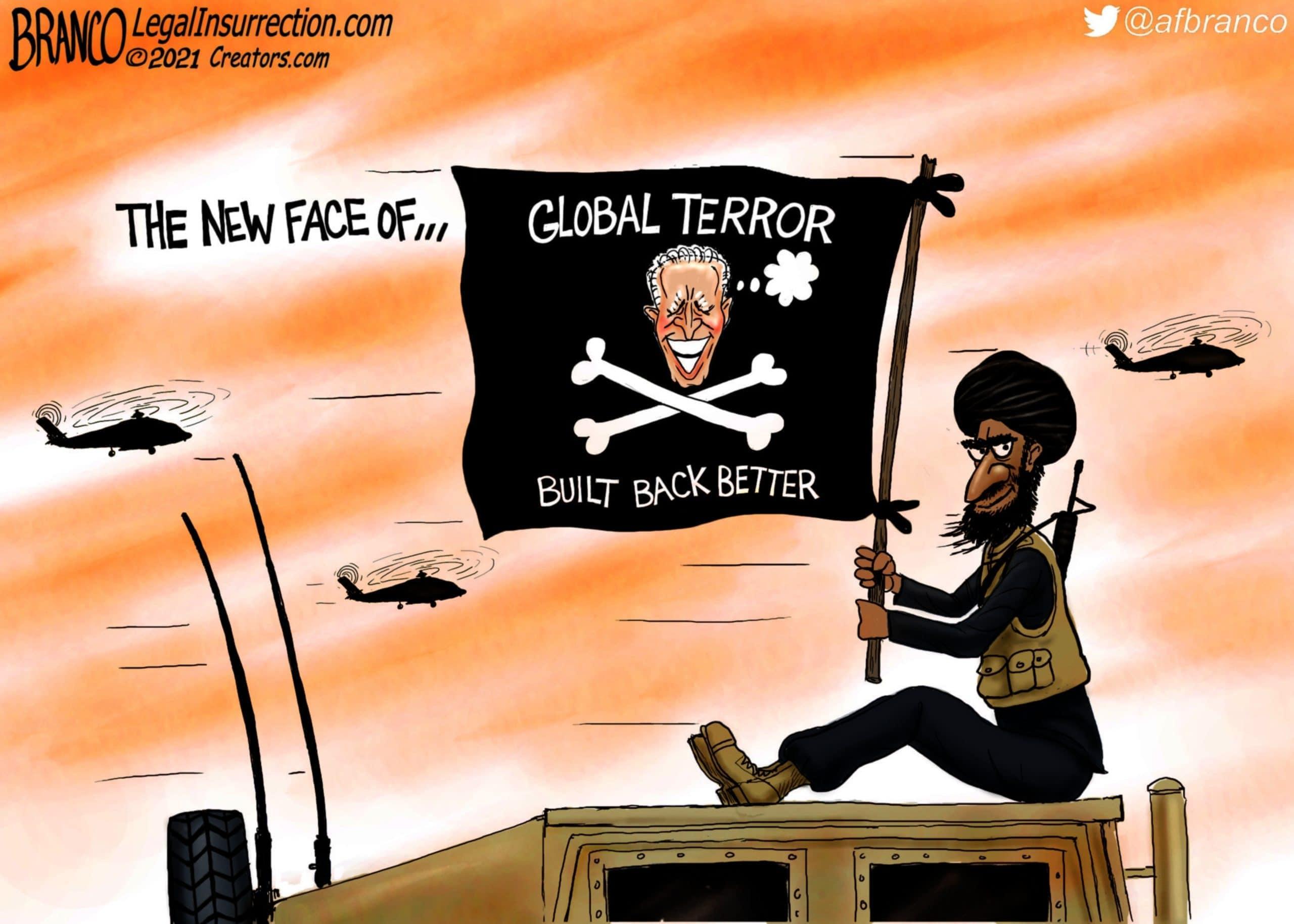 Joe Biden, Terorrism, Global terror, AF Branco, Political Cartoons,