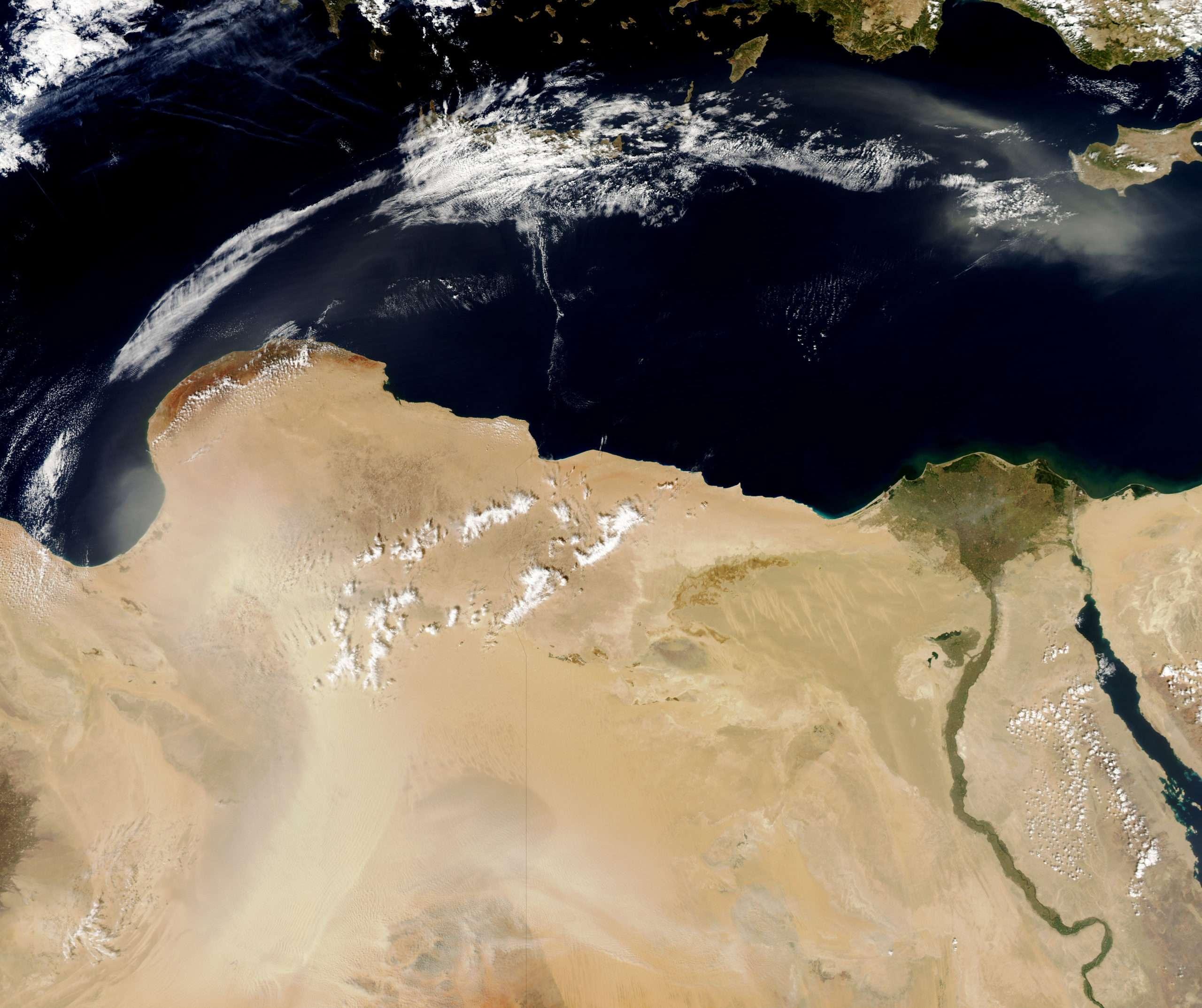 egypt libya satellite view