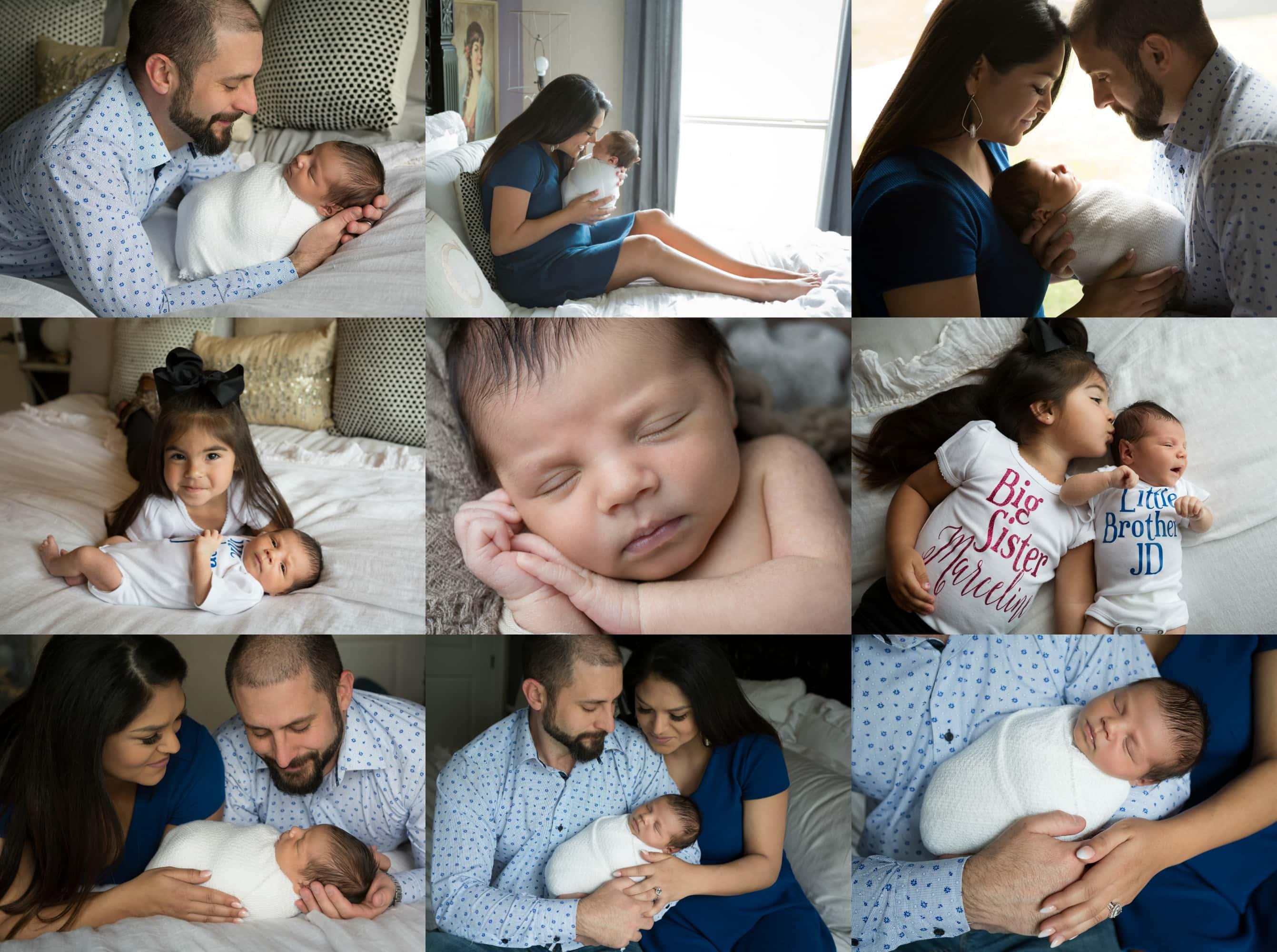newborn boy at home in South Texas, baby boy sleeping during newborn photos at home