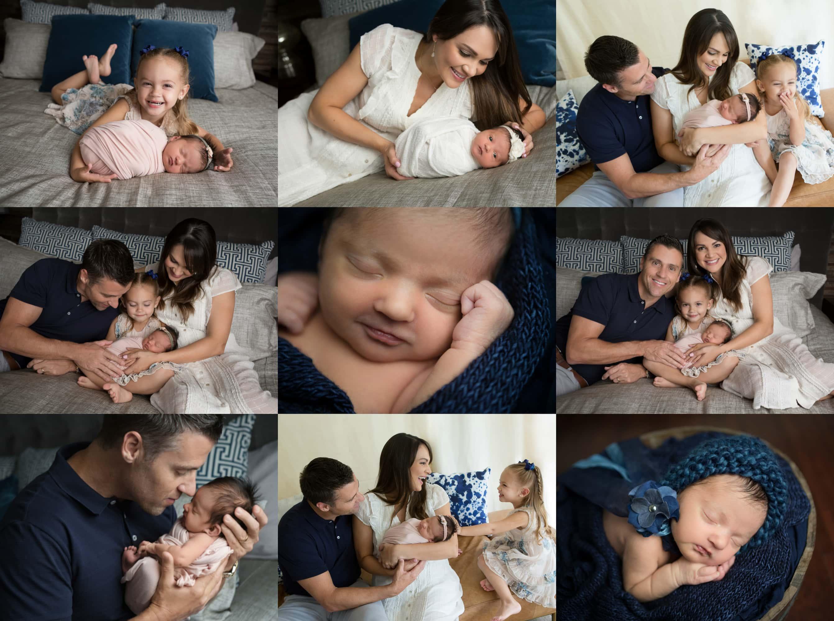 newborn girl at home in San Antonio Alamo Heights, cream, navy and gray