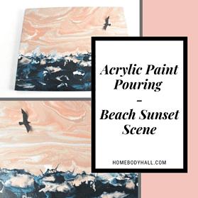 Acrylic Paint Pouring Beach Sunset Scene