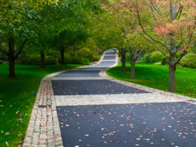 mix of belgian porphyry squares, reclaimed curbing, and european sandstone to widen a driveway