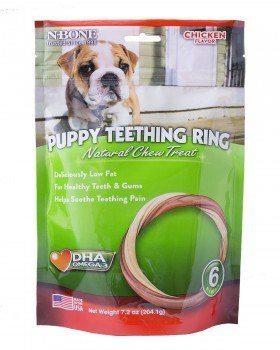 Pouch of N-Bone teething ring on white bg