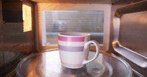 coffee mug in microwave oven