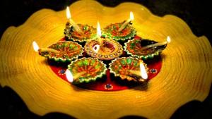 Diya light. Diwali festival 2015