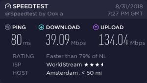 Cyberghost Speedtest Result (Torrent/p2p server in the Netherlands)