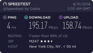 Cyberghost speed test result (East coast USA/NYC)