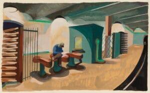 "Benton Spruance, ""Bulldog Edition"" ca. 1932 Gouache painting for sale."