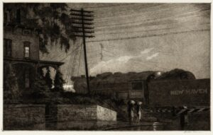 """Martin Lewis, """"The Passing Freight, Danbury"""", 1934 Original signed print for sale."""