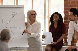Female boss make presentation provide information sales statistics in graphs