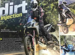 Africa Twin Dirt Bike Magazine feature with Precision Concepts suspension