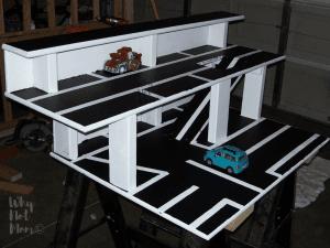 DIY toy car ramp and garage made of wood
