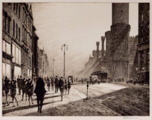 "Martin Lewis, ""Quarter to Nine, Saturday's Child"" 1929. Original signed print for sale."