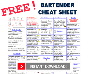 free bartending cheat sheet