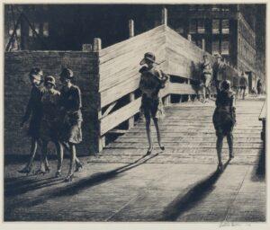 "Martin Lewis, ""Fifth Avenue Bridge"", original signed print for sale"