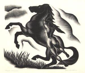 "Paul Landacre's ""Black Stallion"" Original Wood Engraving For Sale"