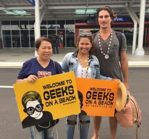geeks on a beach guests greeted at Puerto Princesa airport