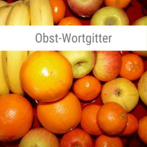 Obst-Wortgitter-Spiel