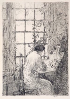 """Childe Hassam, """"The Writing Desk"""", 1915 and original signed, titled and dated print of Hassam's wife at Cos Cob"""