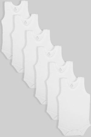 חמישיית בגדי גוף לתינוקות גופייה לבן (0-3 חודשים)