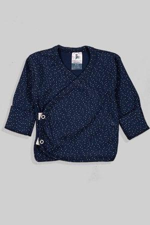 חולצת מעטפת עם כפפה פלנל - בסיס כחול נקודות (0-3 חודשים)